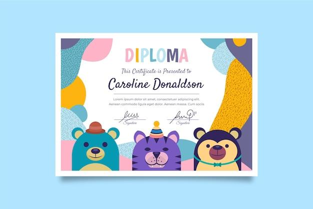 Design de modelo de diploma para crianças Vetor grátis
