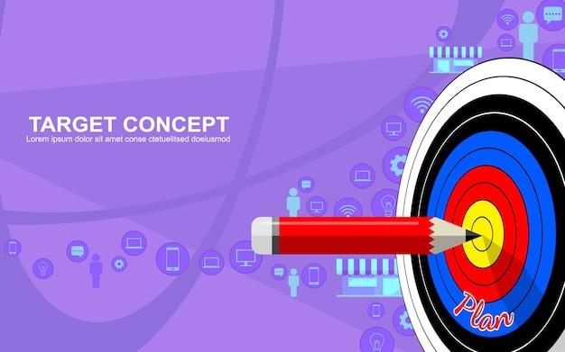Design de modelo de estratégia de negócios de marketing alvo. alvo de dardos, lápis e ícone de fundo Vetor Premium