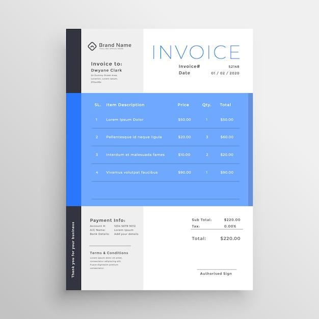 Design de modelo de factura azul moderno Vetor grátis