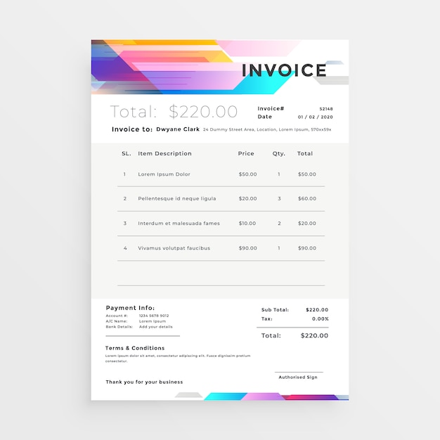 Design de modelo de factura colorido criativo Vetor grátis
