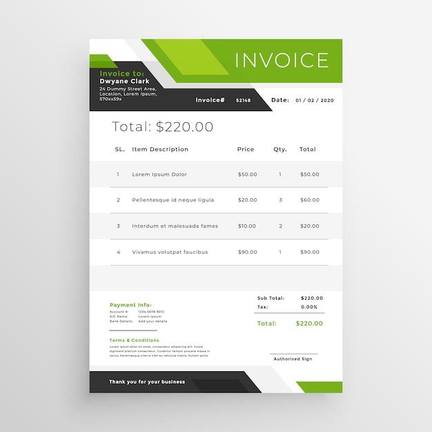 Design de modelo de factura de negócio verde Vetor grátis