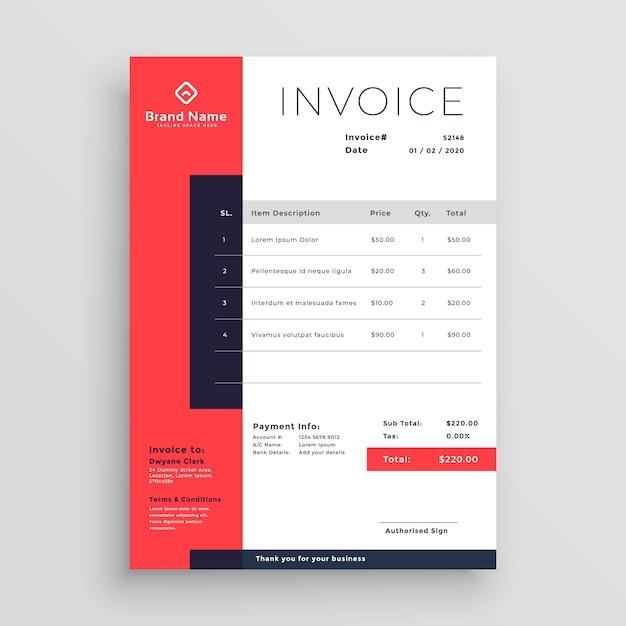 Design de modelo de factura de negócios vermelho Vetor grátis