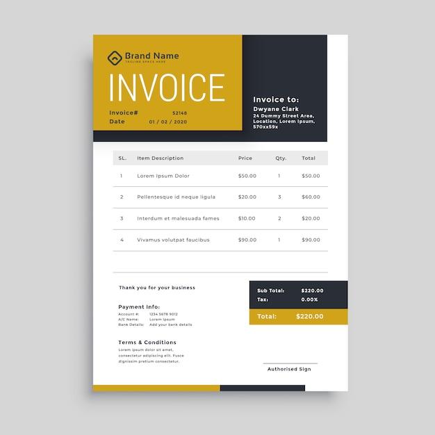 Design de modelo de factura empresarial moderno Vetor grátis
