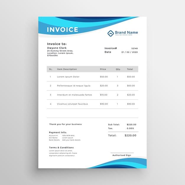 Design de modelo de fatura de negócios azul Vetor grátis