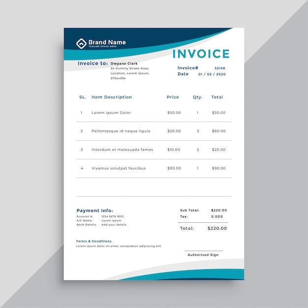Design de modelo de fatura para empresas Vetor grátis