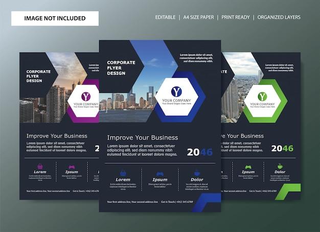 Design de modelo de folheto corporativo com opções de cores Vetor Premium