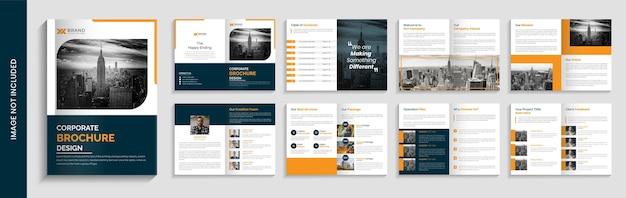 Design de modelo de folheto corporativo minimalista com várias páginas Vetor Premium