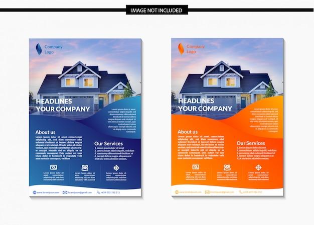 Design de modelo de folheto moderno imobiliário gradiente Vetor Premium
