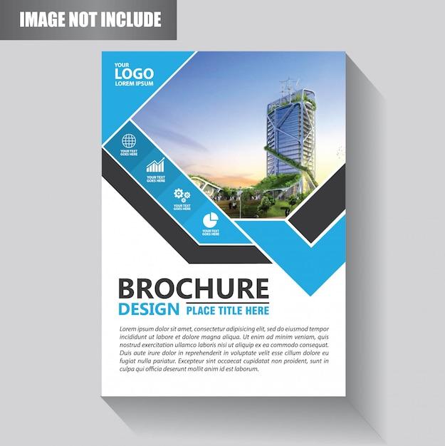 Design de modelo de folheto ou panfleto com cor azul e preto Vetor Premium