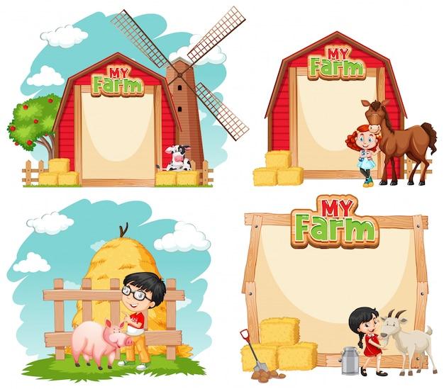 Design de modelo de fronteira com crianças e animais de fazenda Vetor grátis