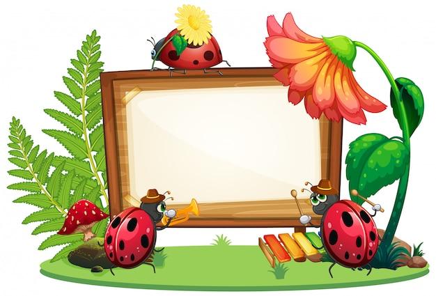 Design de modelo de fronteira com insetos no fundo do jardim Vetor grátis