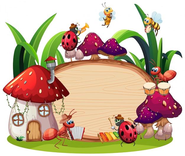 Design de modelo de fronteira com insetos no fundo do jardim Vetor Premium