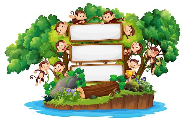 Design de modelo de fronteira com macacos bonitos na ilha Vetor Premium