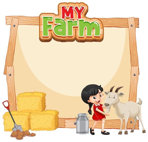 Design de modelo de fronteira com menina e cabra Vetor grátis