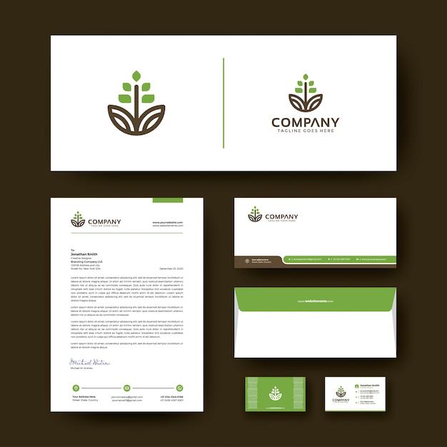 Design de modelo de identidade corporativa editável com envelope, cartão de visita e papel timbrado. Vetor Premium