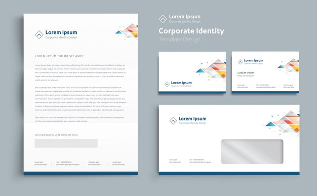 Design de modelo de identidade de negócios corporativos vector Vetor Premium