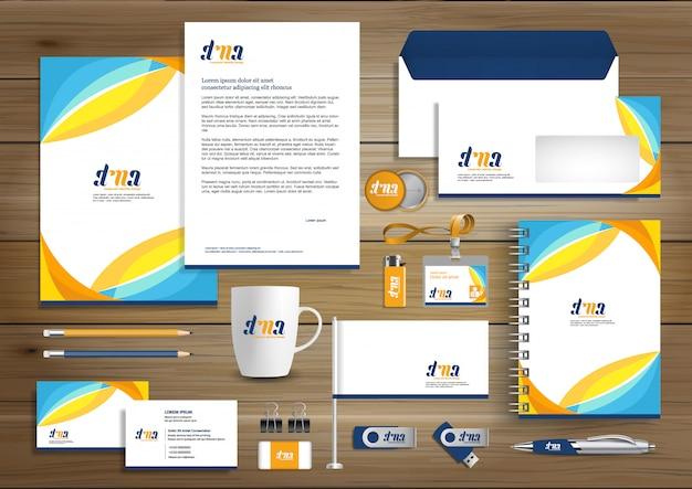 Design de modelo de identidade de negócios corporativos Vetor Premium