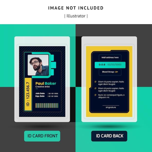 Design de modelo de identificação escuro ou cartão de identificação para escritório Vetor Premium