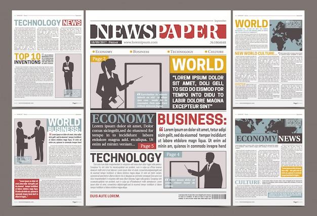 Design de modelo de jornal com artigos financeiros, notícias e publicidade Vetor grátis