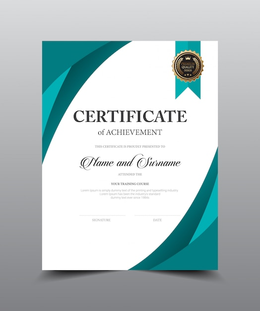 Design de modelo de layout de certificado. estilo luxuoso e moderno, arte finala da ilustração do vetor. Vetor Premium