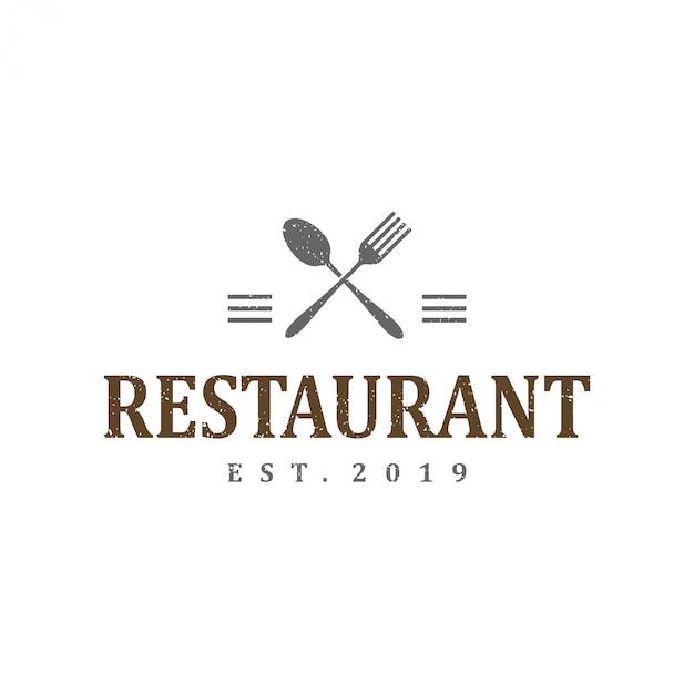 Design de modelo de logotipo vintage para restaurante Vetor Premium