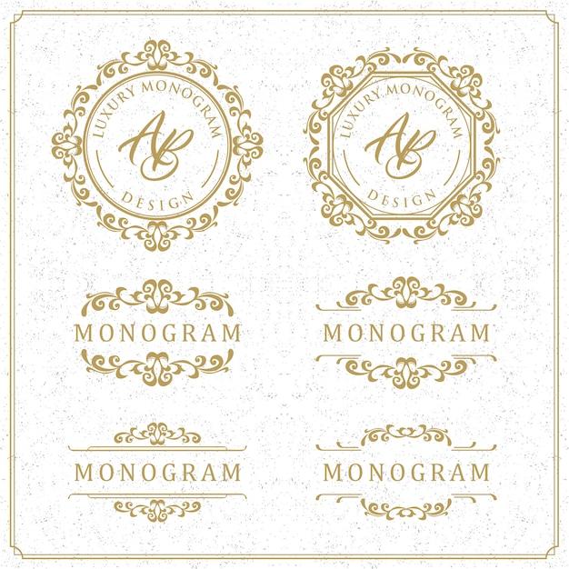 Design de modelo de luxo para casamento e decoração Vetor Premium