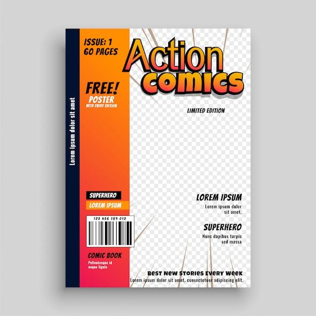 Design de modelo de página de capa de quadrinhos de ação Vetor grátis
