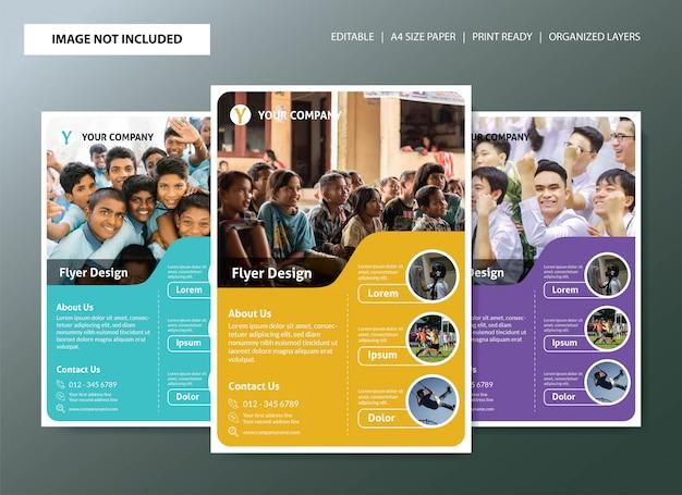 Design de modelo de panfleto de escola com 3 opções de cores Vetor Premium