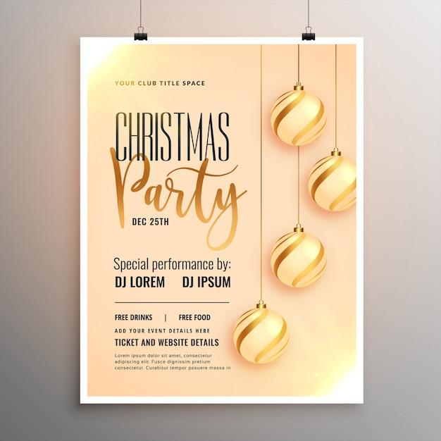 Design de modelo de panfleto de festa feliz feliz natal Vetor grátis