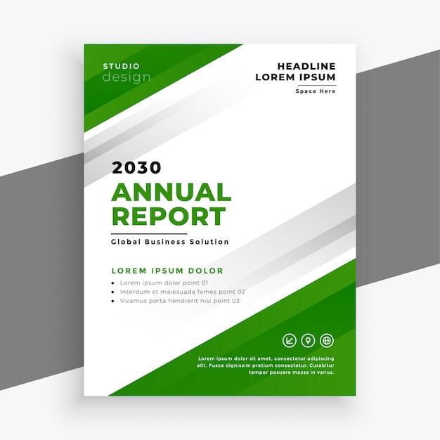 Design de modelo de panfleto de negócios anual relatório verde Vetor grátis