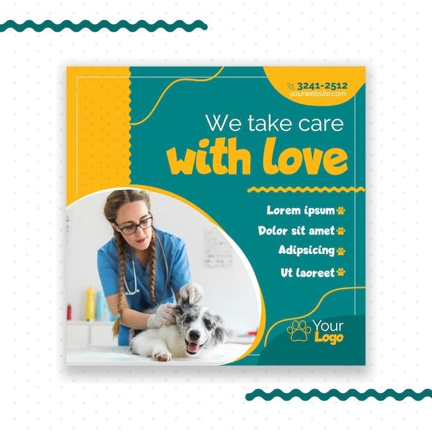 Design de modelo de panfleto veterinário Vetor grátis