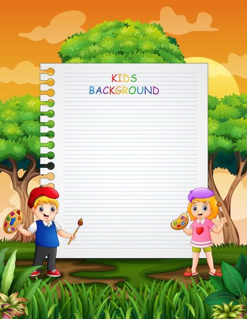 Design de modelo de papel com crianças felizes pintando Vetor Premium