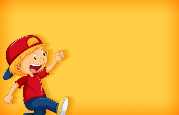Design de modelo de plano de fundo com menino feliz andando Vetor grátis