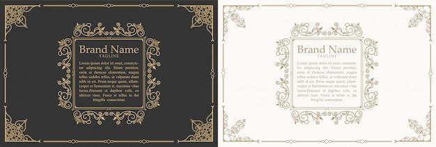 Design de modelo de quadro de caixa de marcas de citação de ornamento vintage e lugar para texto. estilo de lousa quadro retrô floreios. Vetor Premium