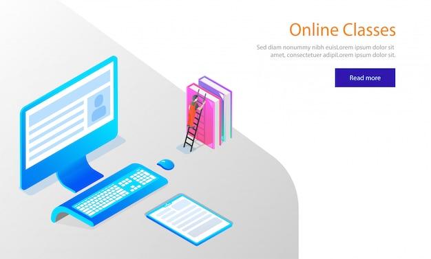 Design de modelo de site, desktop isométrica com livros. Vetor Premium