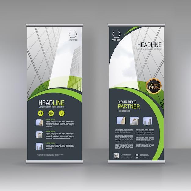 Design de modelo de suporte de banner vertical Vetor Premium