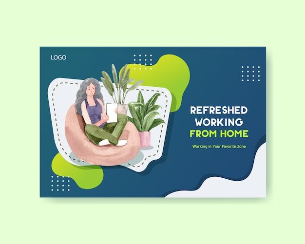 Design de modelo do facebook com as pessoas estão trabalhando em casa. ilustração em aquarela de conceito de escritório em casa Vetor grátis