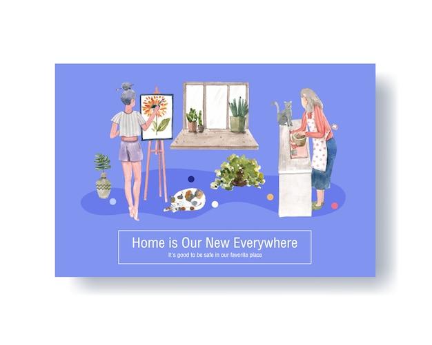 Design de modelo do facebook fique em casa conceito com caráter de pessoas e ilustração em aquarela de quarto interior Vetor grátis
