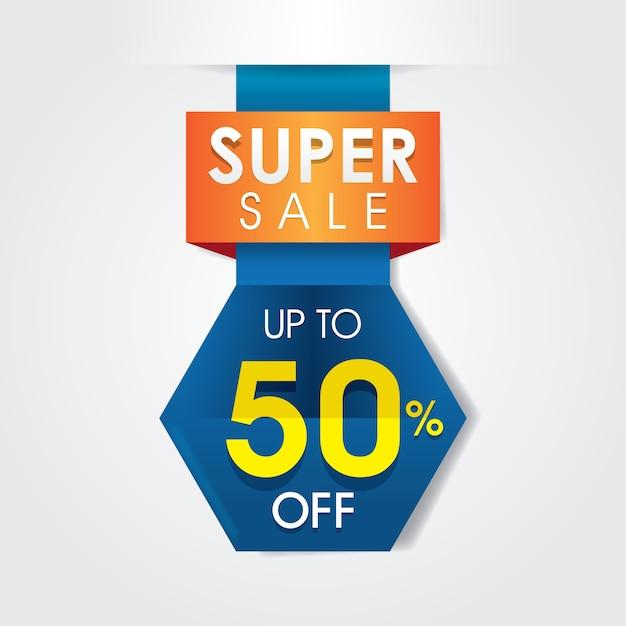 Design de modelo super venda de 50% Vetor Premium