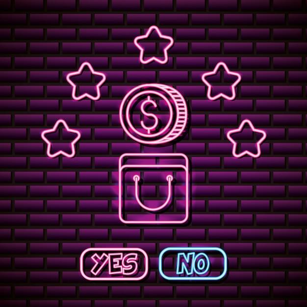Design de moedas e estrelas no estilo neon, jogos de vídeo relacionados Vetor grátis
