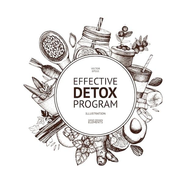 Design de moldura com ilustração de desintoxicação de mão desenhada. fundo de esboço de alimentos orgânicos. ingredientes de dieta eficazes. modelo vintage Vetor Premium