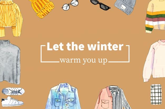 Design de moldura de estilo inverno com blusa, chapéu de lã, óculos aquarela ilustração. Vetor grátis