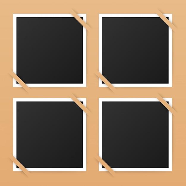 Design de moldura de foto. fotografia realista com copyspace para sua imagem. Vetor Premium