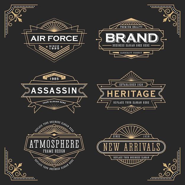 Design de moldura de linha vintage para rótulos, banner, logotipo, emblema, vestuário, camisetas, adesivos Vetor Premium