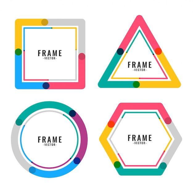 Design de moldura de linhas de cores geométricas Vetor grátis