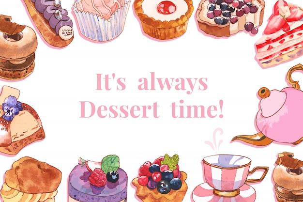 Design de moldura de sobremesa com torta, cupcake, ilustração em aquarela de bule. Vetor grátis