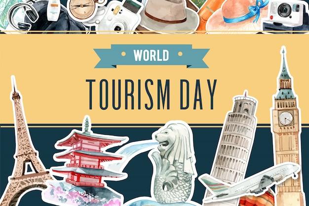 Design de moldura de turismo com marco de singapura, japão, londres, frança. Vetor grátis
