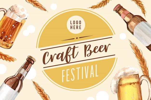 Design de moldura oktoberfest com elementos aquarela cerveja, trigo e cevada. Vetor grátis