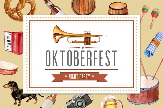 Design de moldura oktoberfest com entretenimento, balde de cerveja, banner. Vetor grátis