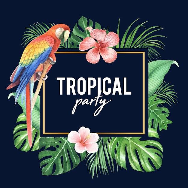 Design de moldura tropical com folhagem e pássaro, ilustração vetorial. Vetor Premium